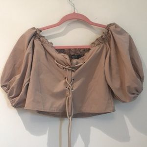 Taupe off the shoulder lace up top